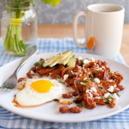 Bean Chilaquiles with Avocado  and  Queso Fresco