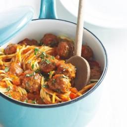 Beef and mushroom meatballs with spaghetti