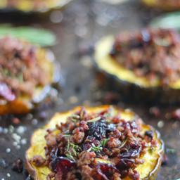 Beef & Cranberry Stuffed Acorn Squash