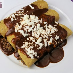 Beef enchiladas with pasilla-ancho pepper gravy