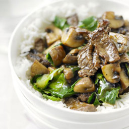 Beef, mushroom and greens stir-fry