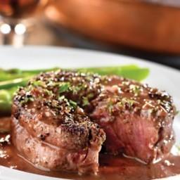 Beef -Peppercorn-Seasoned Steaks with Mustard-Wine Sauce