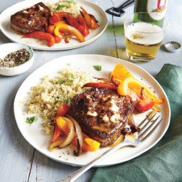 Beef Tenderloin Steaks with Chipotle Butter and Bell Pepper Sauté