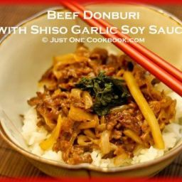 Beef Donburi with Shiso Garlic Soy Sauce