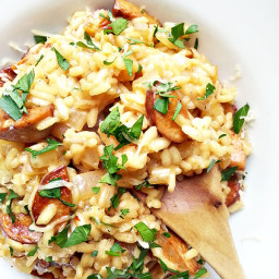 Beer risotto with sausage and gouda