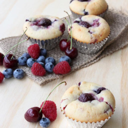 Berry Cherry Ricotta Muffins
