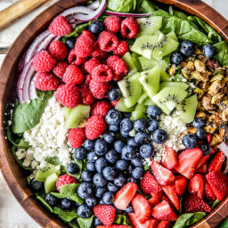 Berry Feta Spinach Salad with Creamy Strawberry Poppy Seed Dressing