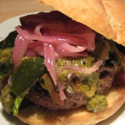 Black Angus Burger with Cheddar Cheese & Grilled Green Chile
