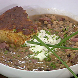Black-Eyed Pea Soup with Ham Hocks and Creme Fraiche