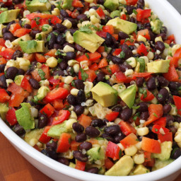 Black Bean Salad with Corn, Red Peppers and Avocado in a Lime-Cilantro Vina