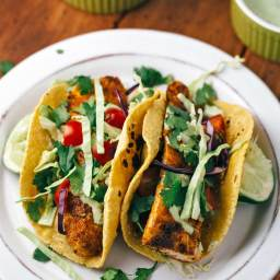 Blackened Mahi Mahi Fish Tacos with Avocado Lime Sauce