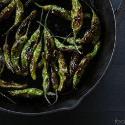 Blistered Shishito Peppers with Garlic Lemon Yogurt Dip