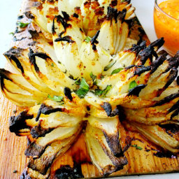 Blossom Onions Grilled and Planked with Red Pepper Aioli