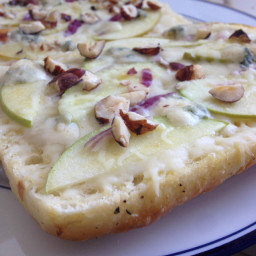 Blue Cheese Focaccia Pizza with Apples