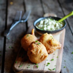 Blue Cheese Lobster Beignets with Spicy Avocado Cream + Garden Vegetable Sa