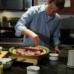 Bobby Flay's New York Strip Steak With Horseradish-Mint Glaze