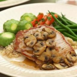 Boneless Pork Chops with Mushrooms  and  Thyme