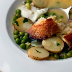 'Bouillabaisse' of Fresh Peas With Poached Eggs