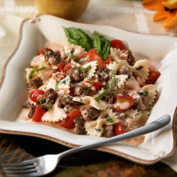 Bowties with Italian Sausage in a Cream Basil Sauce