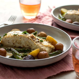 Braised Halibut With Asparagus, Baby Potatoes and Saffron