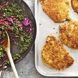 Breaded Pork with Cabbage and Kale