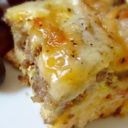 Breakfast Sausage, Egg and Biscuits Casserole