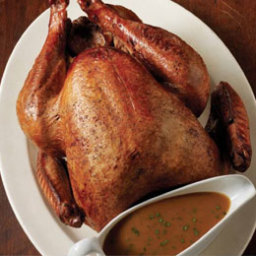 Brined and Barbecued Turkey with Pan Gravy