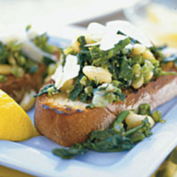 Broccoli Raab and Cannellini Beans over Garlic Bread