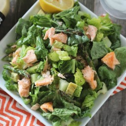 Broiled Salmon and Asparagus Caesar Salad
