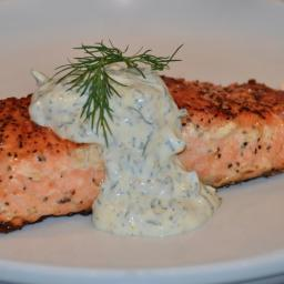 Broiled Salmon with Creamy Lemon Sauce (South Beach Diet)