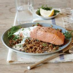 Broiled Salmon with Creamy Lemon-Dill Sauce