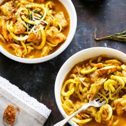 Brown Butter Pumpkin Sauce over Zucchini Linguine & Grilled Chicken