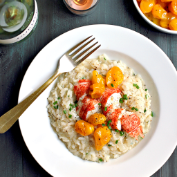 Brown Butter Risotto with Lobster and Honey-Roasted Tomatoes