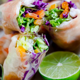 Brown Rice Shrimp Summer Rolls with Peanut Lime Dipping Sauce