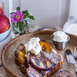 Brown Sugar + Kahlúa Grilled Peaches and Cream French Toast.