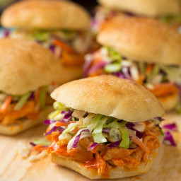 Buffalo Chicken Sliders with Blue Cheese Coleslaw
