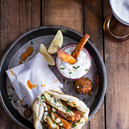 Buffalo Falafel and Garlic Blue Cheese Fry Pita's w/Ranch Style Tzatziki.