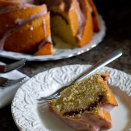 #BundtaMonth: Lemon Raspberry Swirl Bundt Cake