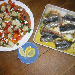 Butterflied sardines and Tuscan bread salad