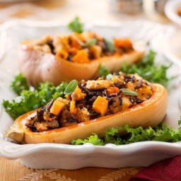 Butternut Squash With Whole Wheat, Wild Rice, and Onion Stuffing
