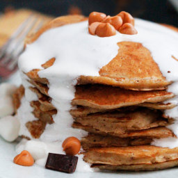Butterscotch S'more Pancakes with Marshmallow Syrup