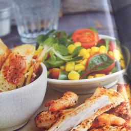 Cajun chicken wedges and sweetcorn salad