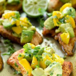 Cajun-Rubbed Chicken Tenders with Mango-Avocado Salsa