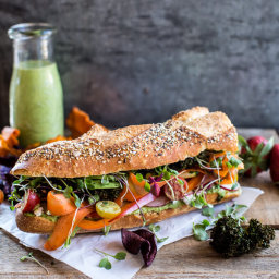 California Rainbow Veggie Sub with Goddess Dressing + Chipotle BBQ Ranch Ka