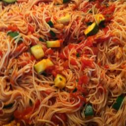Cappellini with Spicy Zucchini Tomato Sauce