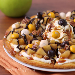 Caramel Apple Cake Chip Nachos Topped with M and M's® Pecan Pie