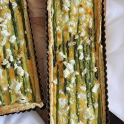 Caramelised Leek, Asparagus and Goat's Cheese Tart