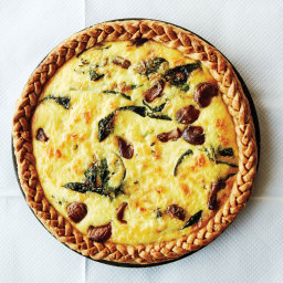 Caramelized Garlic, Spinach, and Cheddar Tart