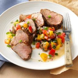 Caribbean-Spiced Pork Tenderloin with Peach Salsa Recipe