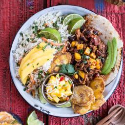 Caribbean Mango Pork and Tropical Rice Plates.